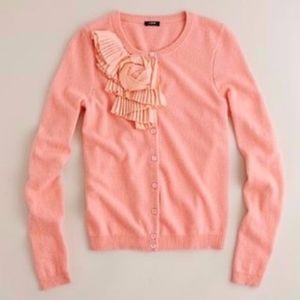 J.CREW Pleated Lombard Ruffle Cardigan Pink Floral